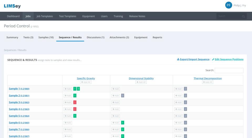 LIMSey sample/test sequence screenshot