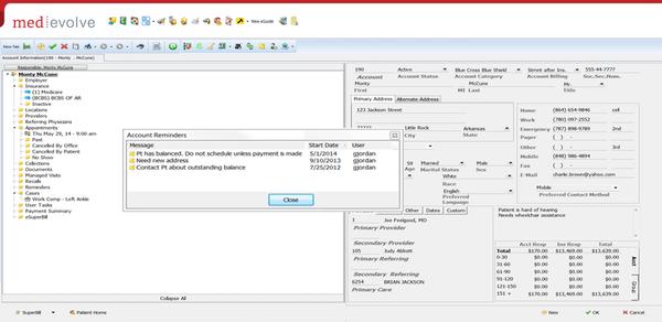 MedEvolve account information screenshot