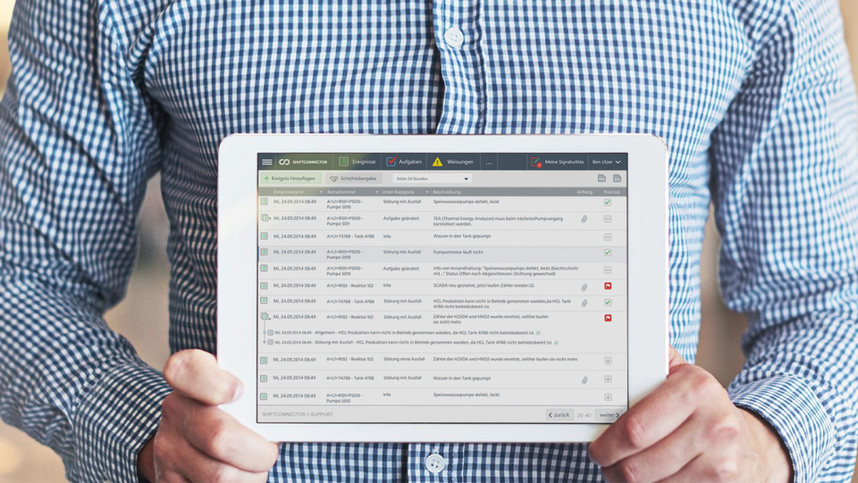 Work paperless in the operation using an Apple iPad, Android or Windows tablet