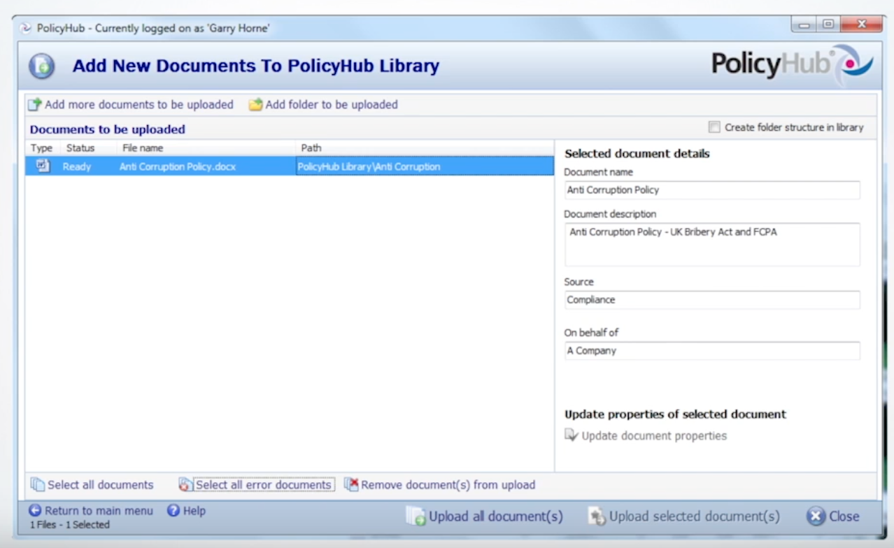 PolicyHub library screenshot