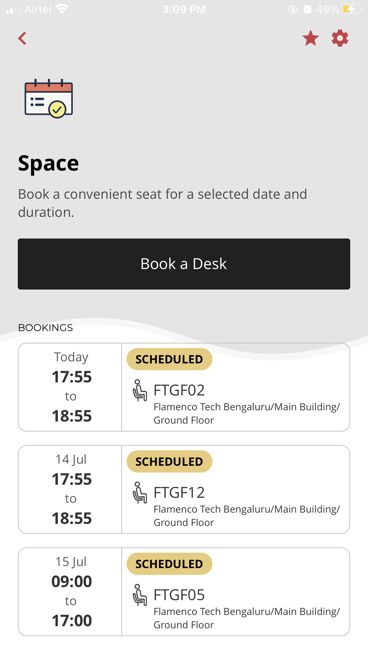 Easy to use mobile app for the employees offering desk booking with options to select seats based on amenities, department, search for a colleague/ workstation, view seating plans & many more.