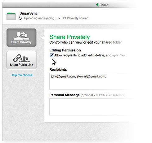 SugarSync Software - SugarSync private sharing