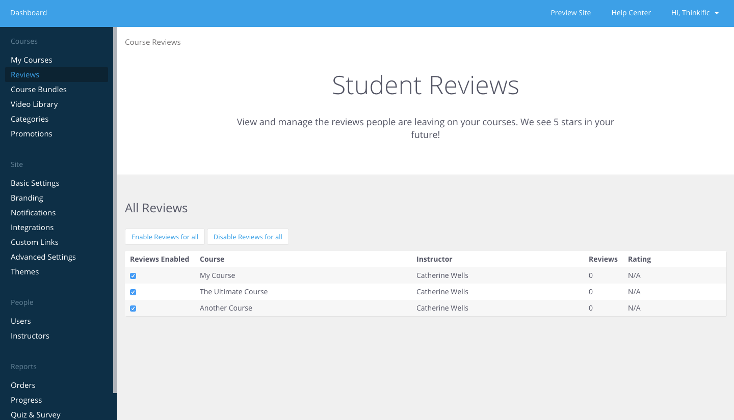 Students are able to review courses on Thinkific