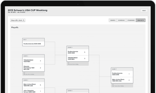 The Tourney module allows microsites to be created for individual tournaments and linked to a main SportsEngine team website