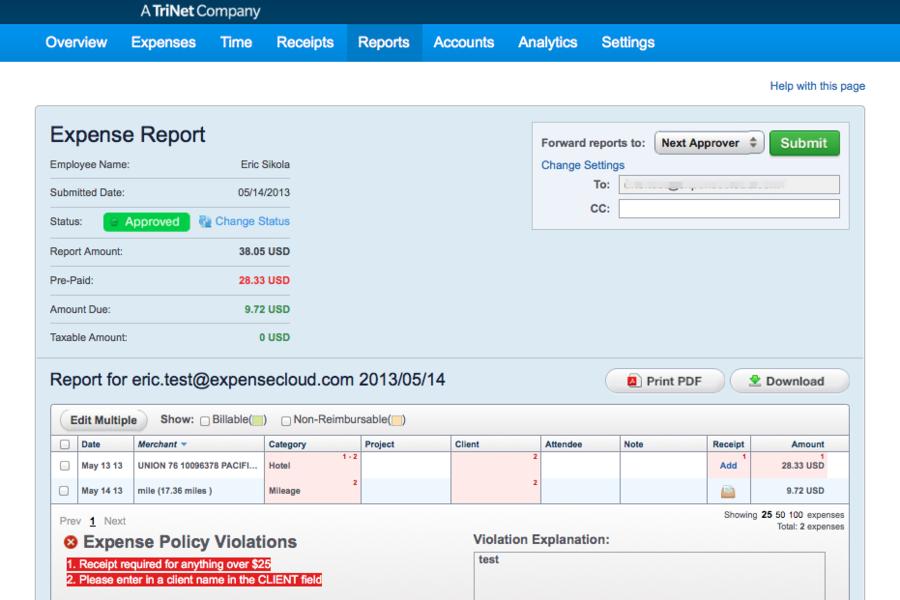 TriNet Expense report