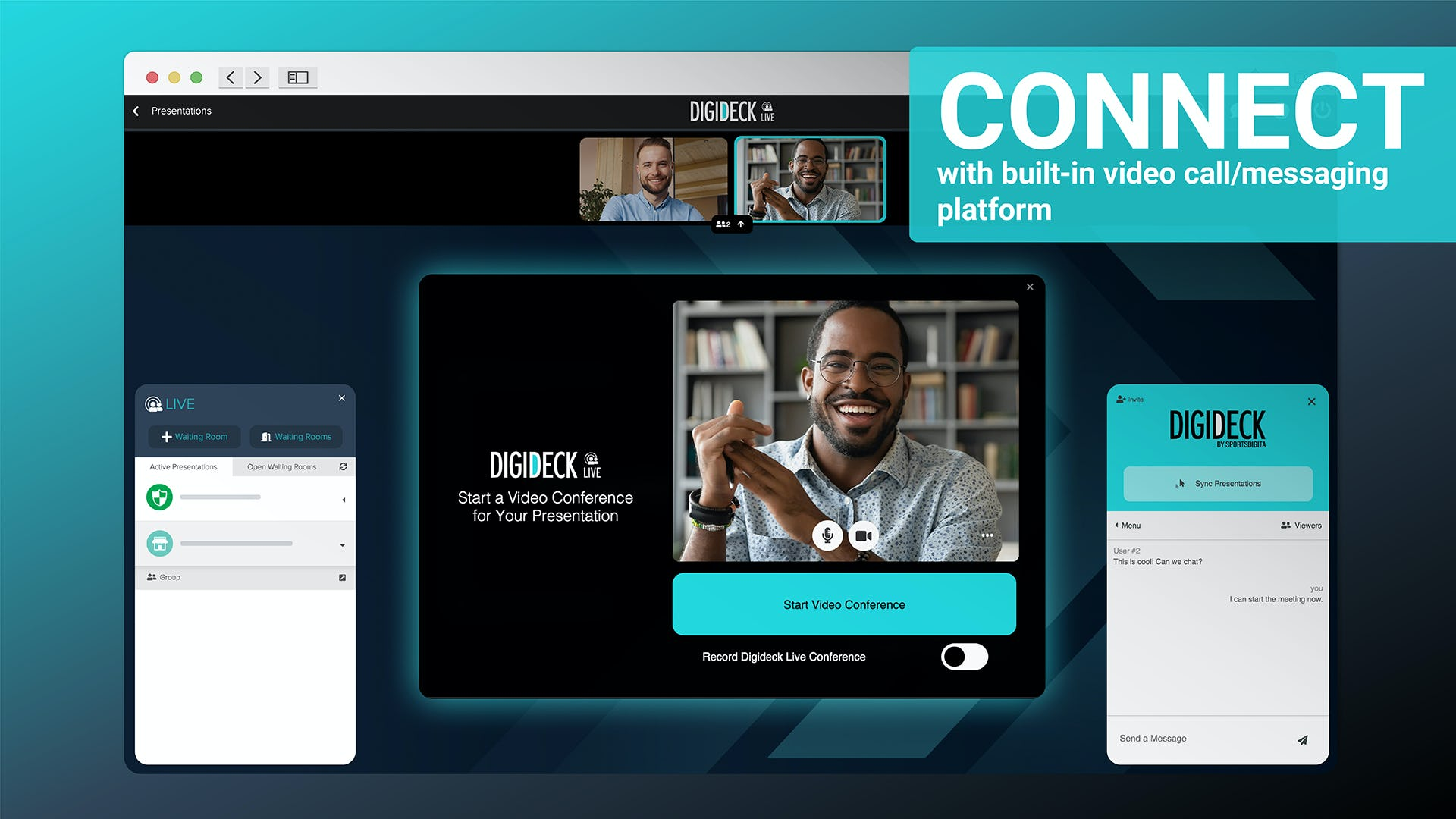 Digideck Software - Never schedule a zoom call again. Digideck LIVE gives you video conferencing, chat, and real-time audience alerts to shorten virtual sales cycles from anywhere.