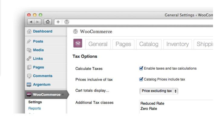 WooCommerce screenshot: WooCommerce automatically calculates sales tax