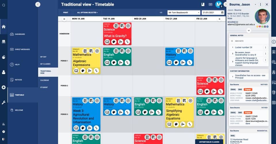 Timetable - Teacher View