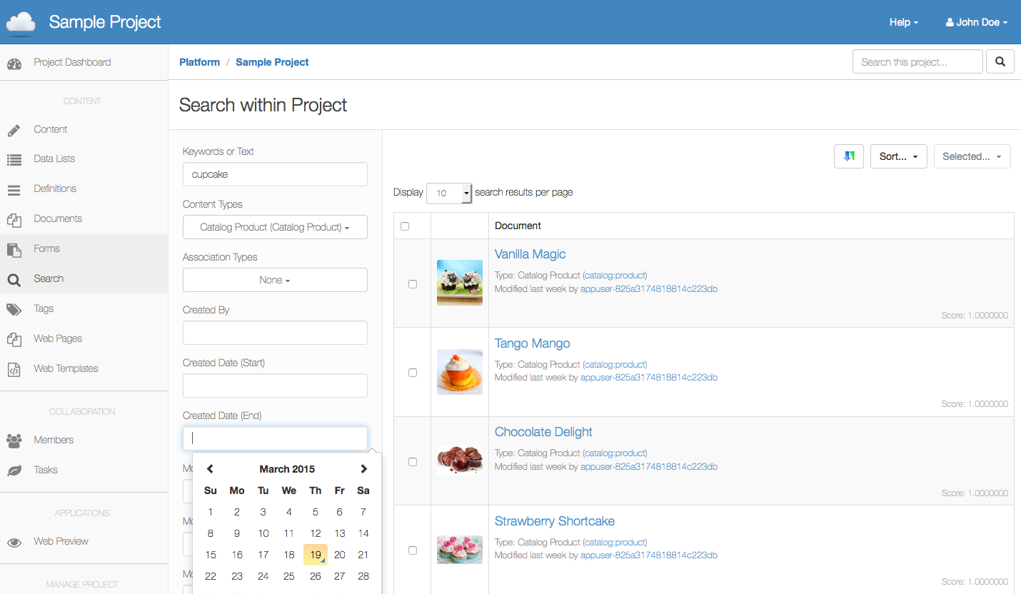 Cloud CMS search functionality