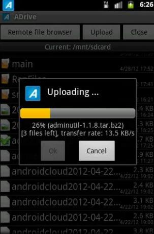 ADrive file upload
