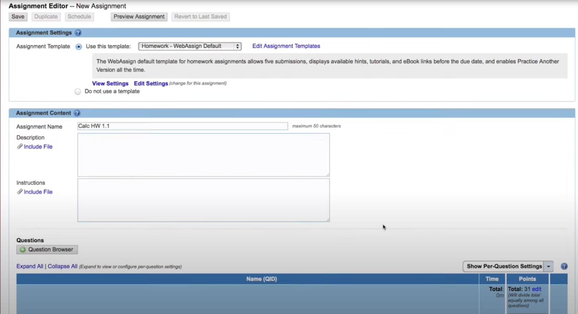 WebAssign assignment editor