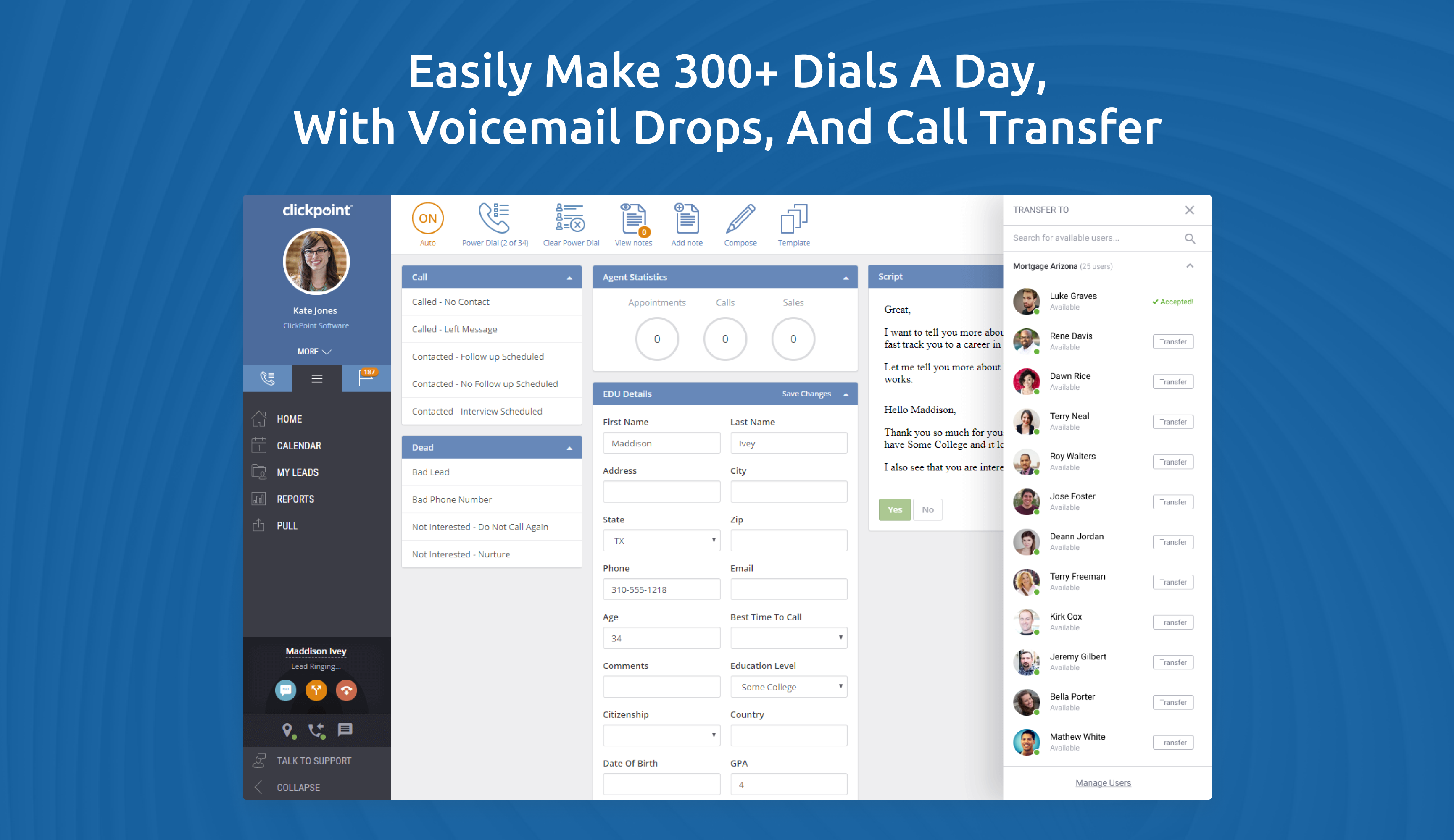 ClickPoint screenshot: Outbound Dialing with local presence, pre-recorded voicemail, email nurture, Text SMS, sales scripts, guided selling, and automated lead prioritization, to help your salespeople reach more contacts, prospects, and leads.