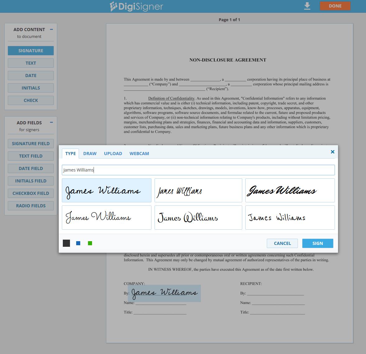DigiSigner Software - Sign document