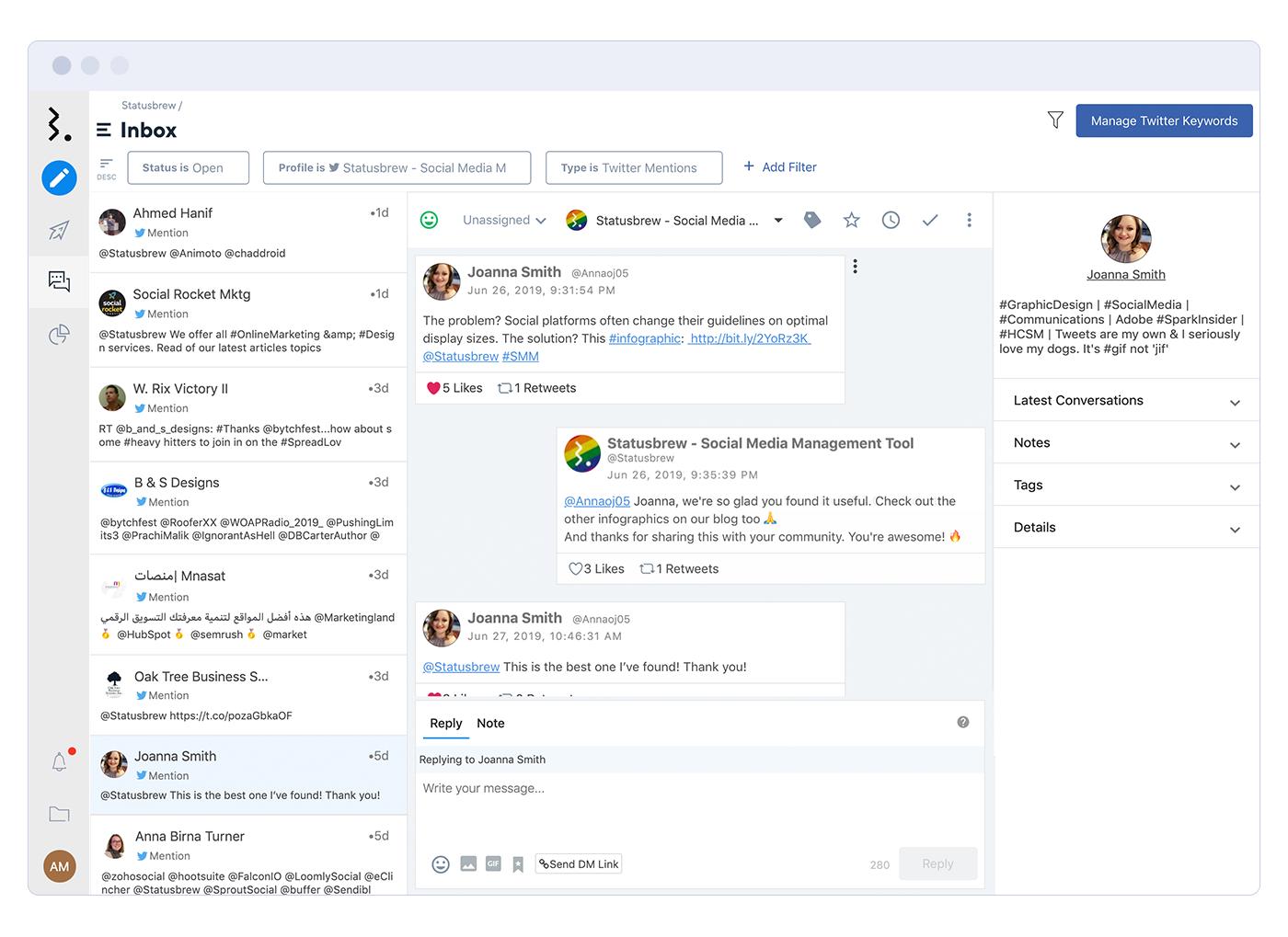 Statusbrew Software - Statusbrew communication through messaging