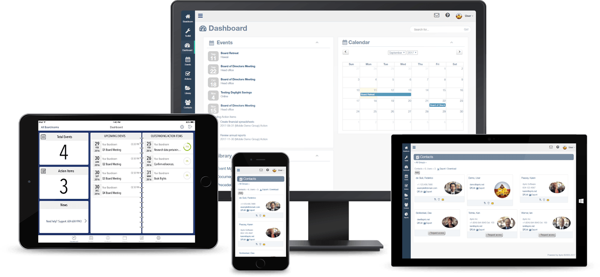 Aprio Software - Switch seamlessly between desktop, laptop, tablet or phone and see up-to-the-minute board documents