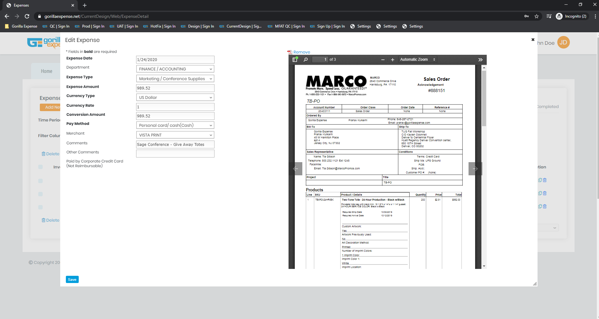 Edit Expense Page - Search dropdowns, navigate between expenses easily, receipt side-by-side view makes it easy to enter data