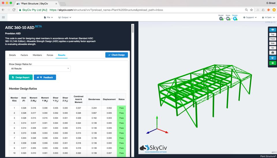 SkyCiv Structural 3D Software - Design Checks