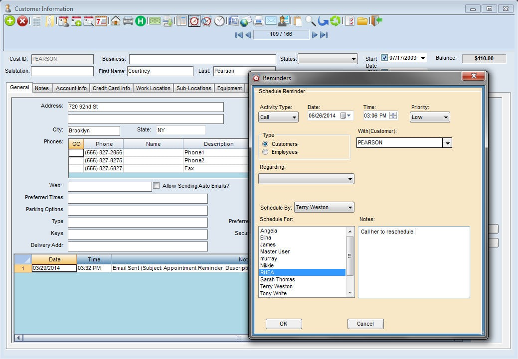 Scheduling Manager Software - Reminders