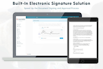 Boardable screenshot: E-Signatures speed up the document signing and approval process. Legally sign documents without the hassle of traditional paper signatures. Upload a document, request a signature, and view the status of document signatures all in one place.
