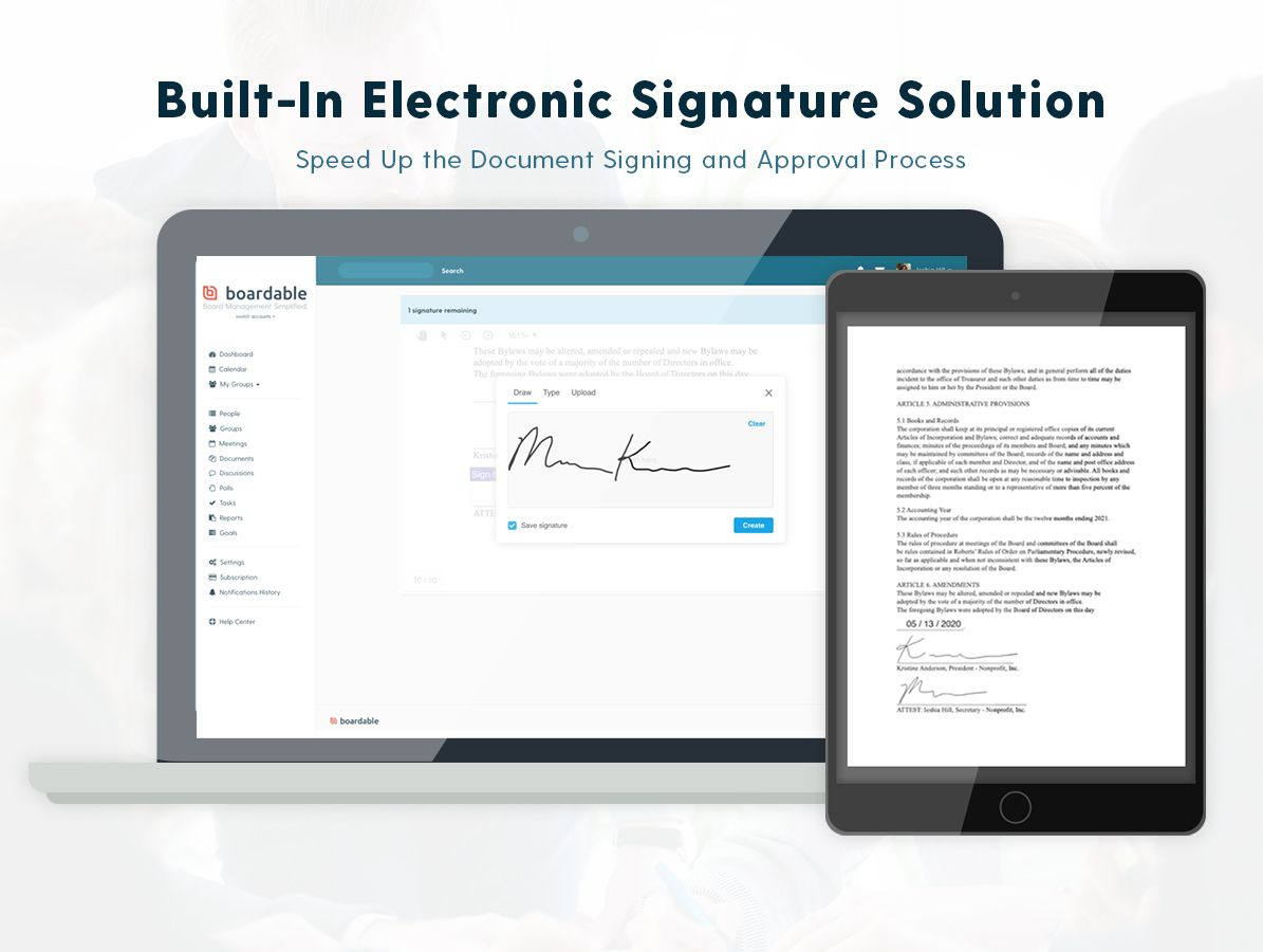 E-Signatures speed up the document signing and approval process. Legally sign documents without the hassle of traditional paper signatures. Upload a document, request a signature, and view the status of document signatures all in one place.