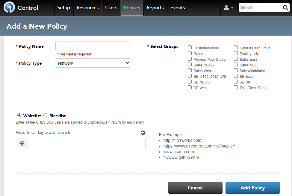 Workspot policy configuration