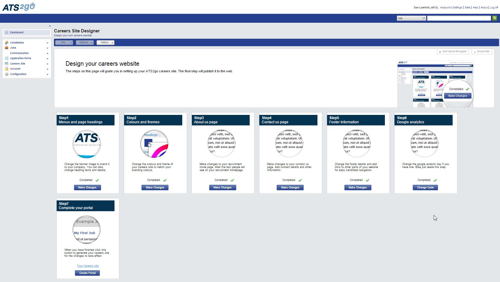 ATS2Go Software - Create Site Wizard
