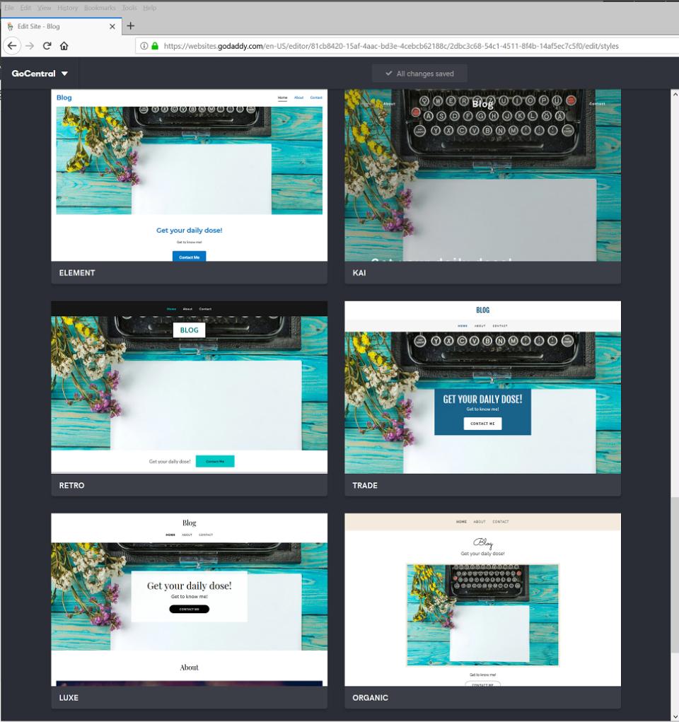 GoDaddy Website Builder editor