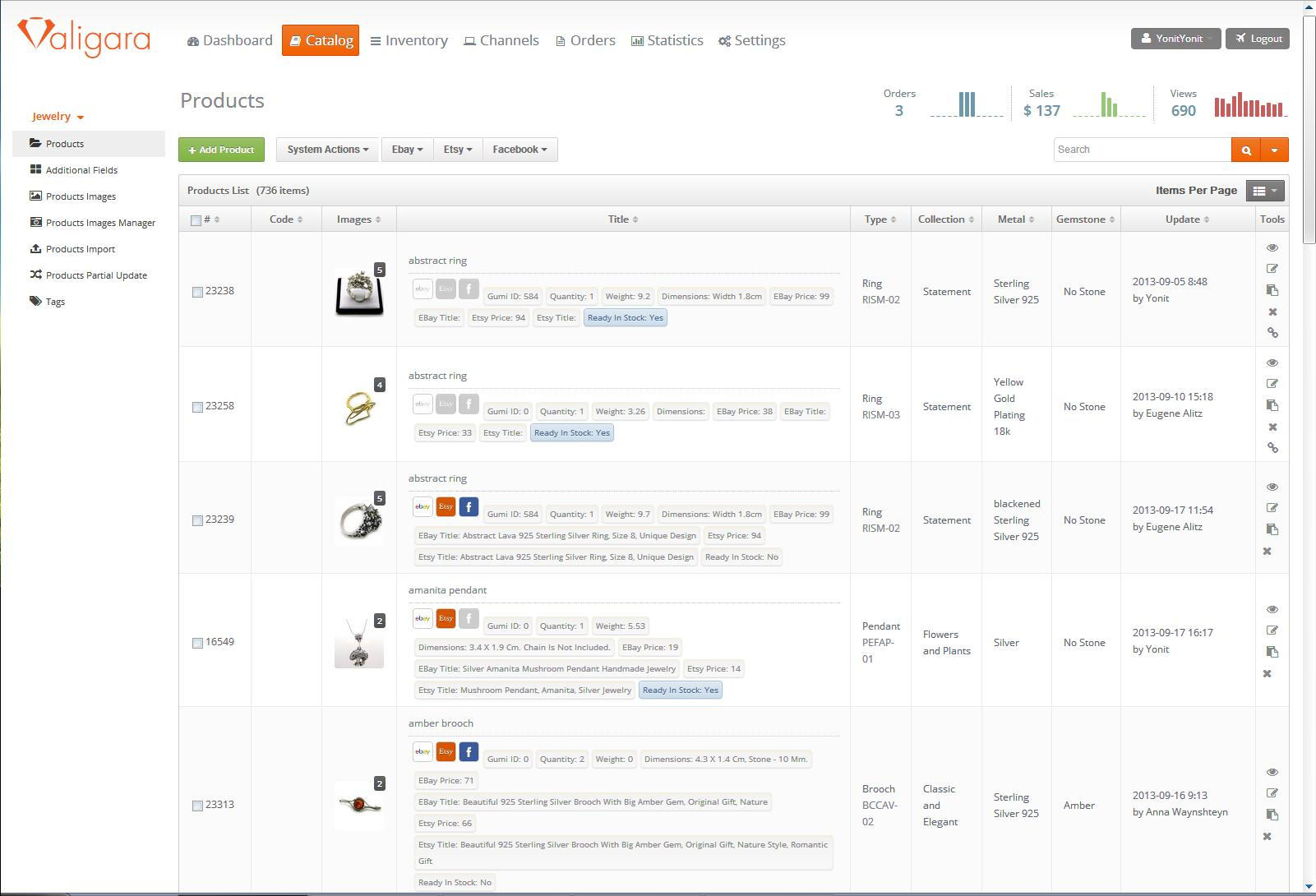 Valigara screenshot: Compile a detailed catalog, with integration to online marketplaces such as eBay, Etsy, Amazon, and more