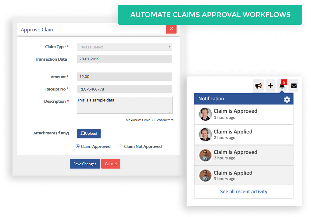 The workflows can be configured to send notifications to managers for all new claim submissions and also to team members upon approval or rejection, making the whole process smooth and fast moving.