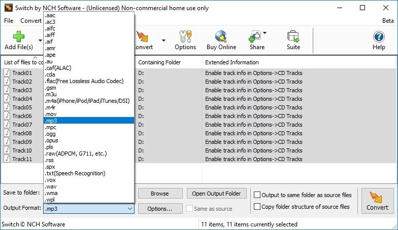 Switch Audio Converter main interface