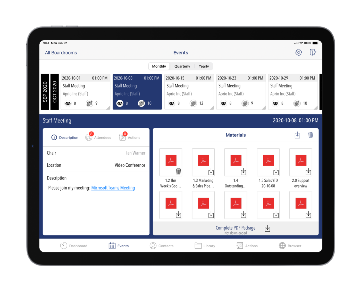 Aprio Software - Events Library & Agenda