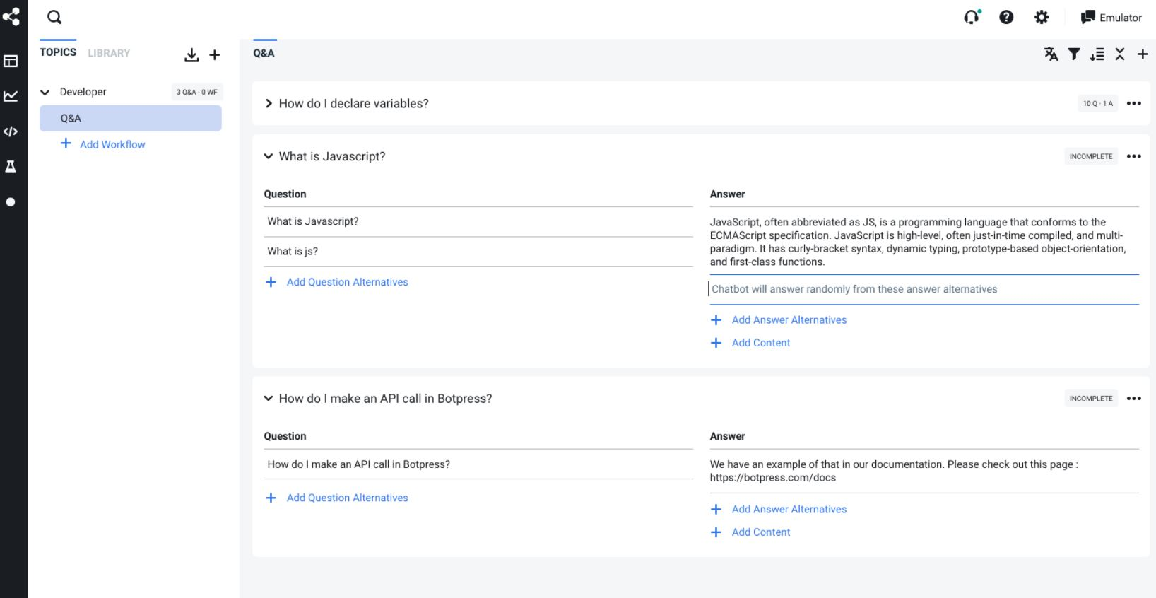 Botpress create questions