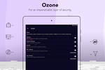 PureVPN screenshot: Ozone feature, shown on iOS, provides hotspot VPN features including content and web filtering, antivirus protection, IDS / IPS and app blocking etc