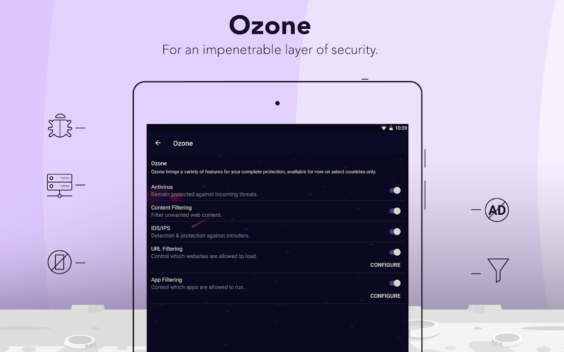 Ozone feature, shown on iOS, provides hotspot VPN features including content and web filtering, antivirus protection, IDS / IPS and app blocking etc