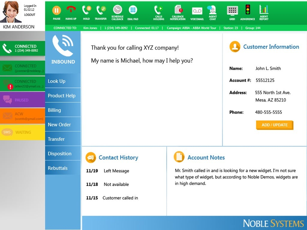 Noble Suite Software - Inbound call
