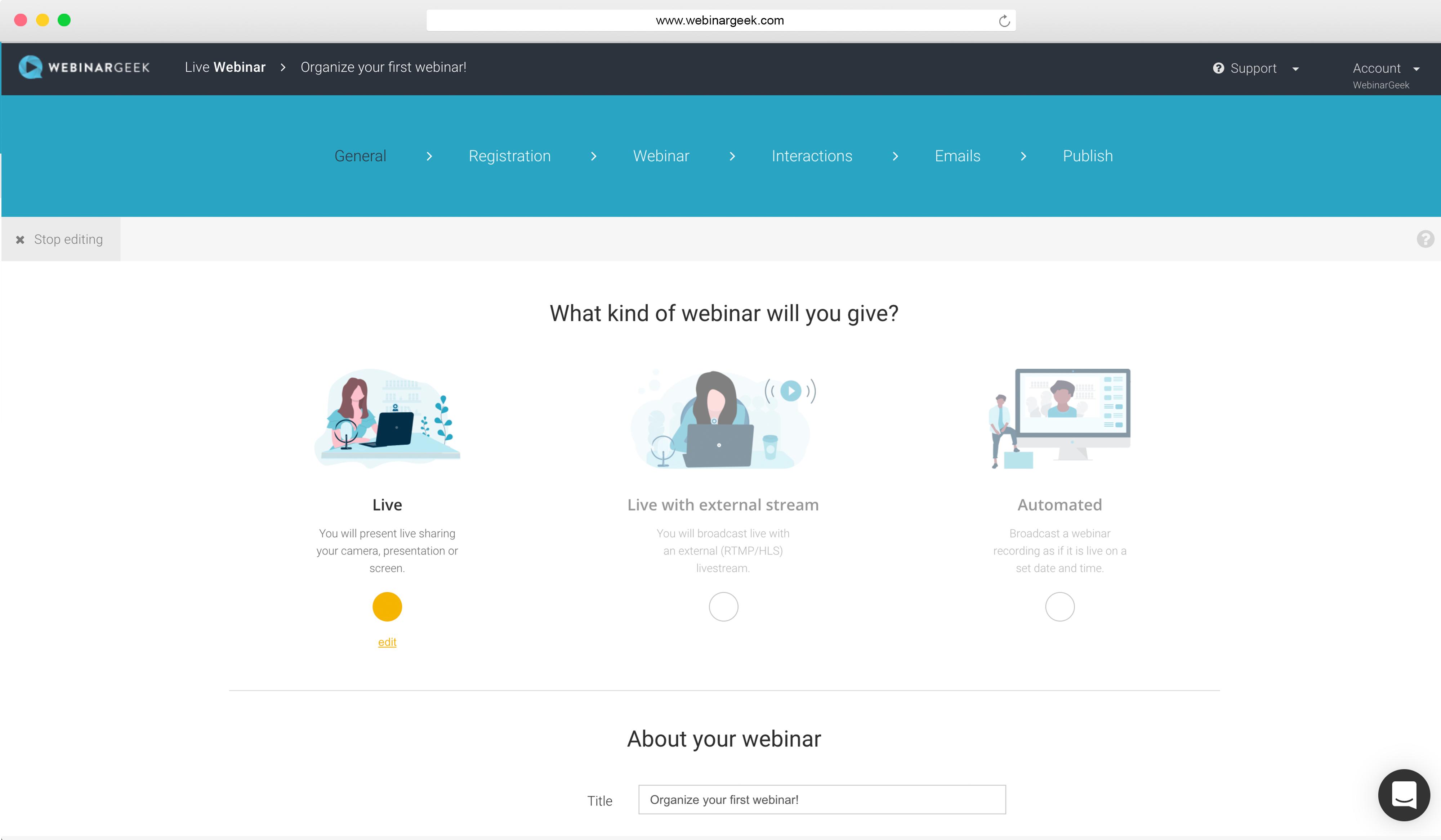 WebinarGeek webinar wizard