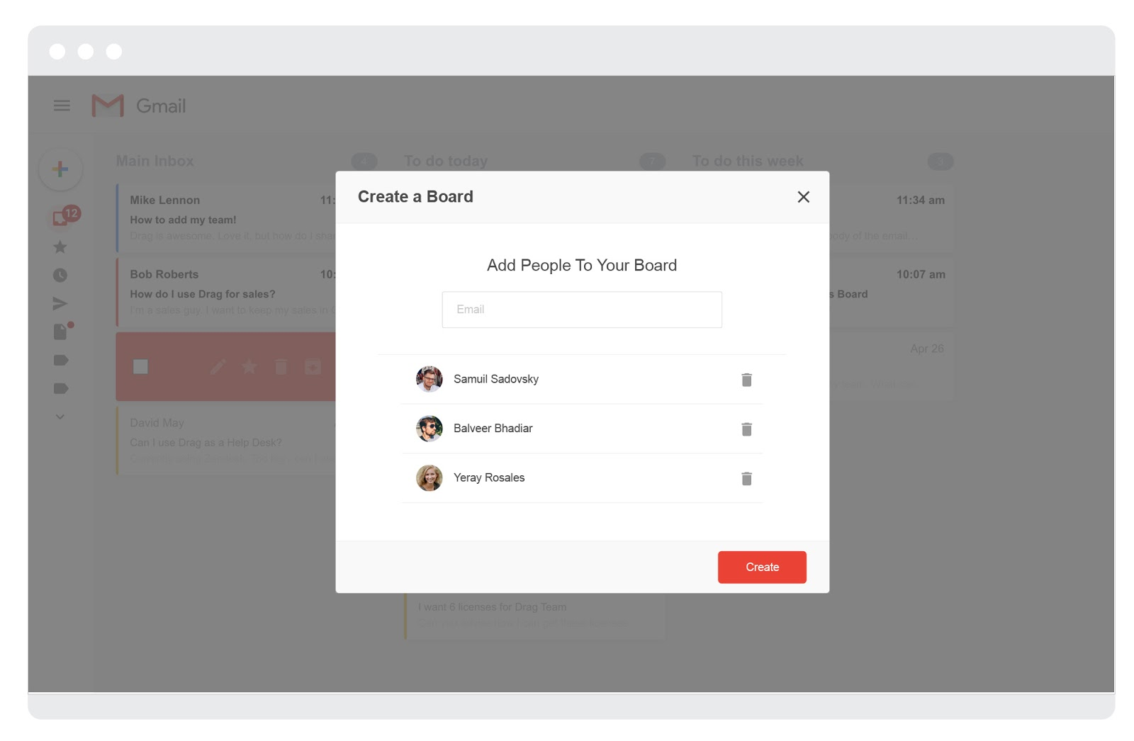 Drag adding people to boards screenshot