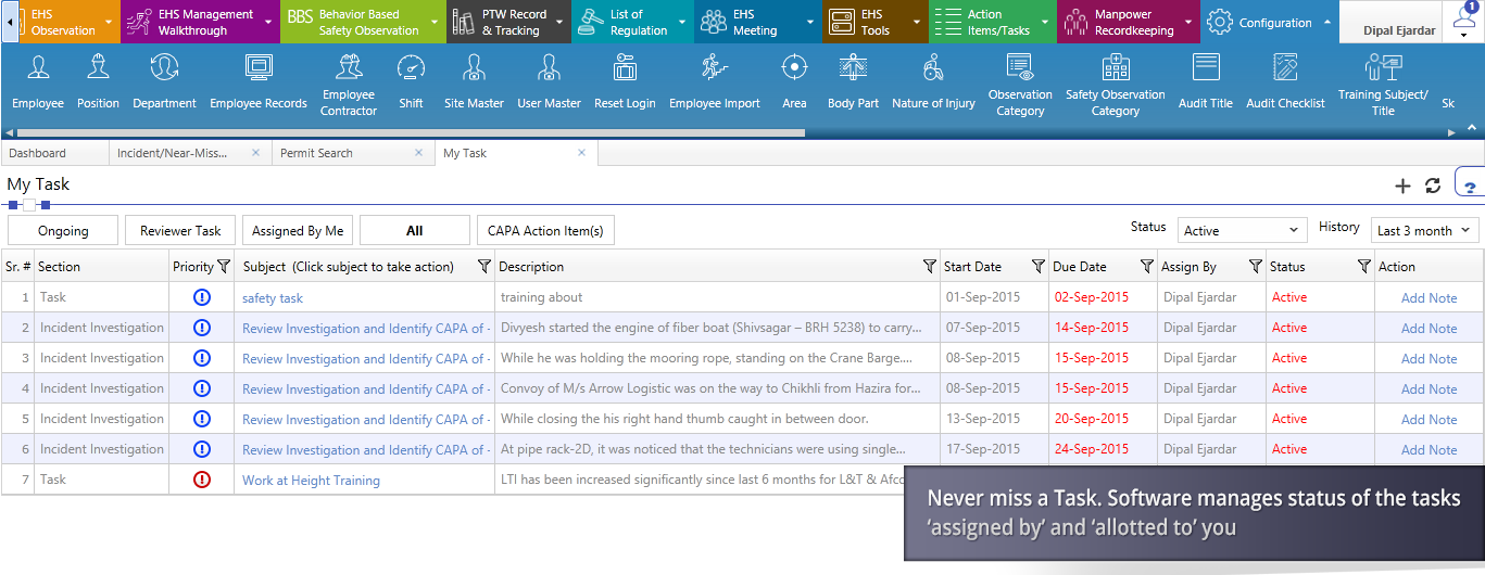 Tasks can be assigned to users and viewed by assignees within the task management module