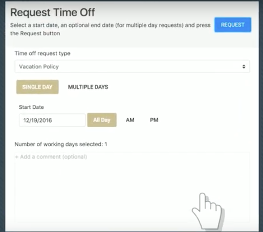 Simple interface for requesting time off.