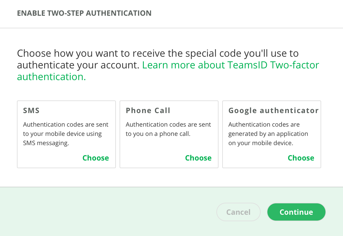 TeamsID Software - TeamsID also includes two-step authentication by SMS, phone call, and Google Authenticator