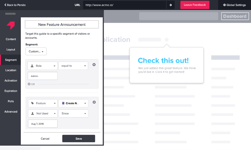 Create in-app guides with smart targeting