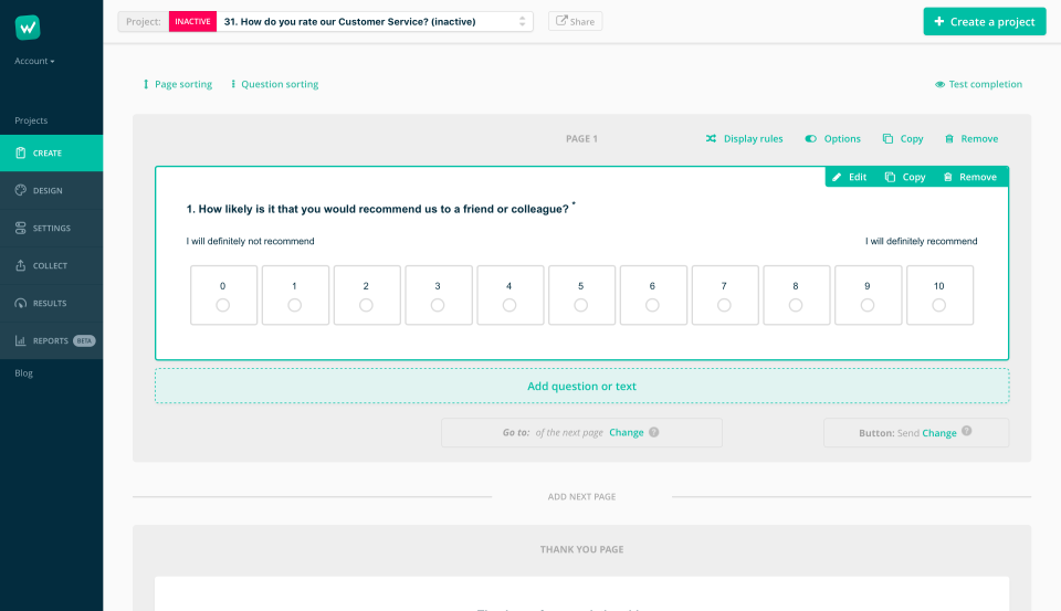 Customize questions