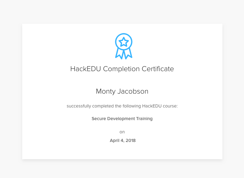 HackEDU certificate of completion