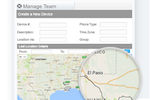 myGeoTracking screenshot: Geographic maps allow users to track their teams in real time when connected to an employee's mobile device