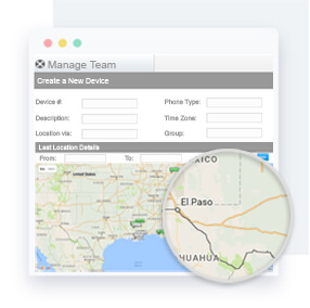 Geographic maps allow users to track their teams in real time when connected to an employee's mobile device