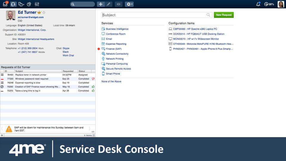 4me service desk console
