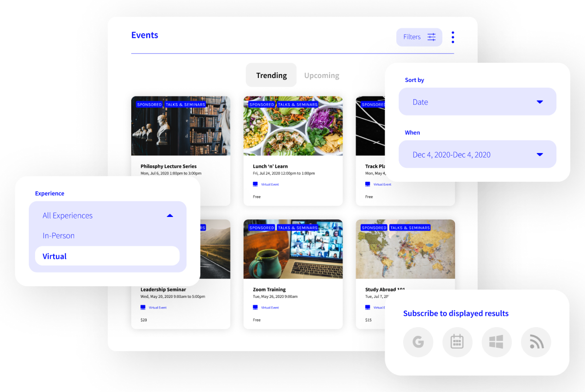 Localist Software - Bring all your events into a single interactive calendar to provide a centralized experience for all visitors.