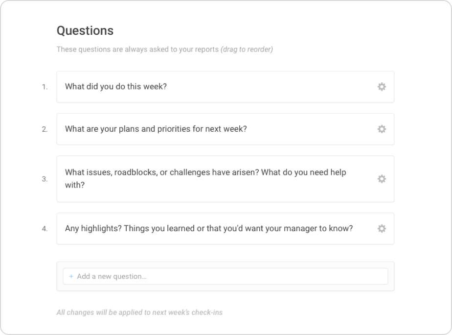 Users can select from pre-existing questions in Lattice or create their own custom questions