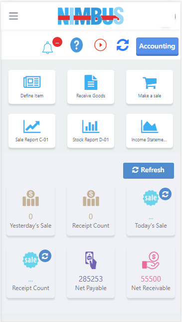 Business Analytics Dashboard:  Check daily and weekly  stock and sales trends.  Keep track of total Receivables and Payables, & Receipt Counts