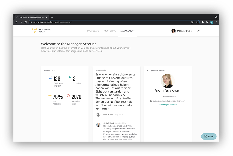 Volunteer Vision Software - Via the Manager Account you can keep track of your employees' progress, monitor your KPIs and access our live service support.